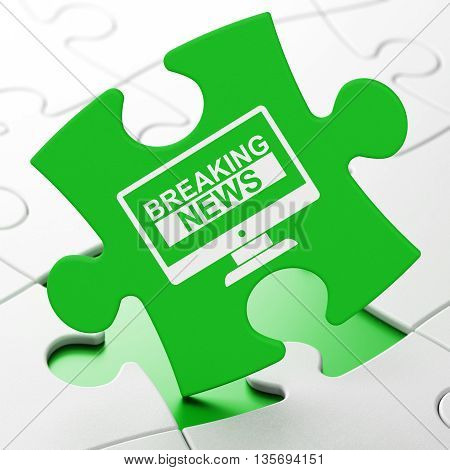 News concept: Breaking News On Screen on Green puzzle pieces background, 3D rendering