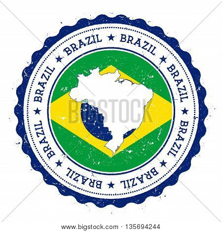 Brazil Map And Flag In Vintage Rubber Stamp Of State Colours. Grungy Travel Stamp With Map And Flag