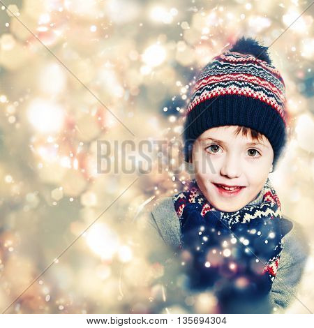 Child Boy on Christmas Glitter Sparkle Background