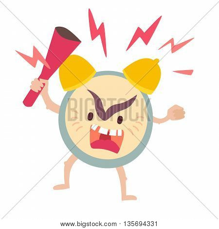 Angry alarm clock. Wake up deadline concept. Alarm clock vector illustration. Alarm clock icon. Alarm clock with bat. Ringing alarm clock isolated on white background. Flat sticker