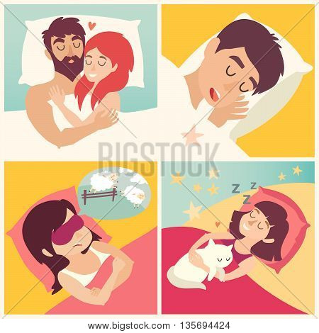 Sleeping man. Cartoon boy at bed. Cartoon character men on pillow. Sweet dreams. Sleeping man icon. Snoringman. Sleep icon.Vector illustration on white background.Flat sticker