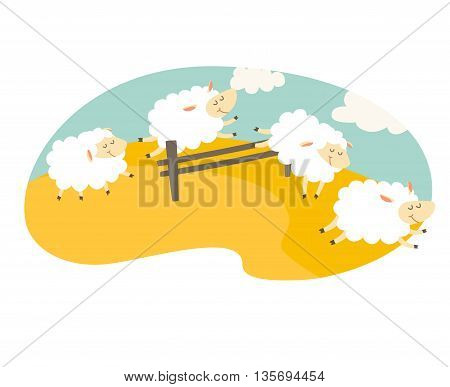 Counting sheep. Cartoon happy sheep for baby. Cartoon character sheep on meadow. Sweet dreams. Jumping sheep insomnia. Vector illustration on white background. Flat sticker