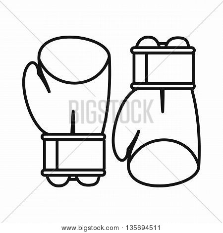 Boxing gloves icon in outline style isolated on white background