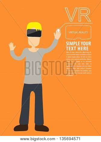 Man wear VR playing using vr headset. Vector flat illustration.