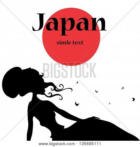 silhouette illustration beautiful girl in rdress. Lies and catching butterflies. The hair colors. Japanese culture.