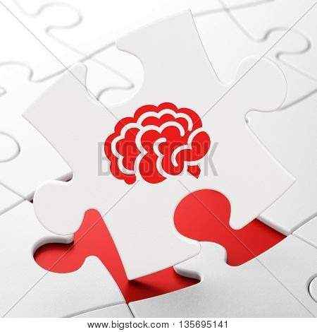 Science concept: Brain on White puzzle pieces background, 3D rendering