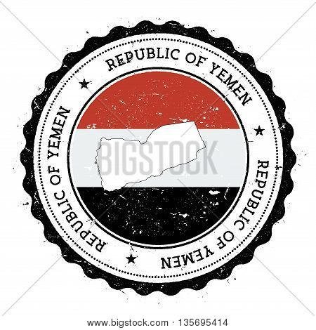 Yemen Map And Flag In Vintage Rubber Stamp Of State Colours. Grungy Travel Stamp With Map And Flag O