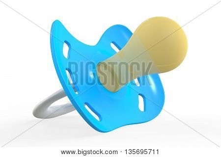 blue pacifier 3D rendering isolated on white background