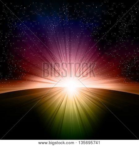 Earth sunrise easy all editable easy all editable