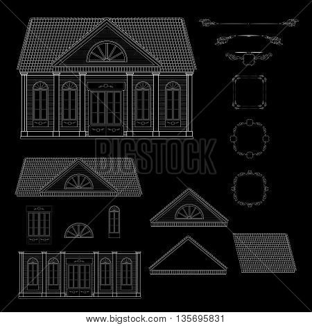 Vector set of isolated line details retro style house. Window,  door, roof, facade and vintage decorative elements, frames.