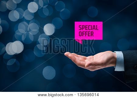 Special offer business model and marketing offer. Businessman hold virtual label with text special offer.