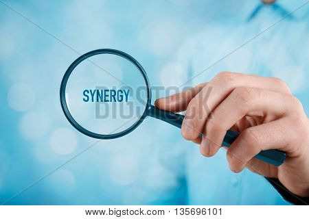 Businessman manager CEO coach leader and another successful business person are focused on synergy effect.