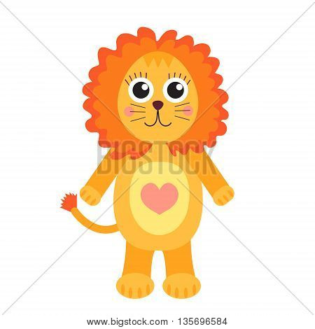 Cute cartoon character lion. Children's toy lion on a white background isolated. Vector illustration