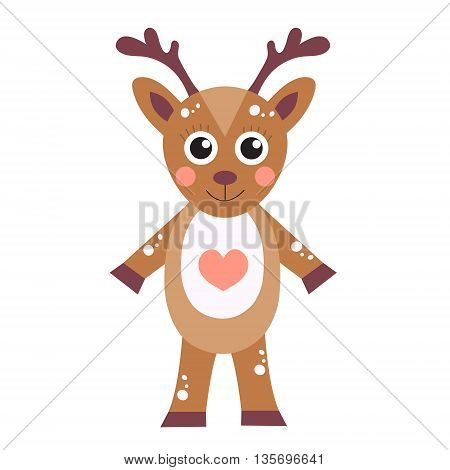 Cute cartoon character deer. Children's toy deer on a white background isolated. Vector illustration