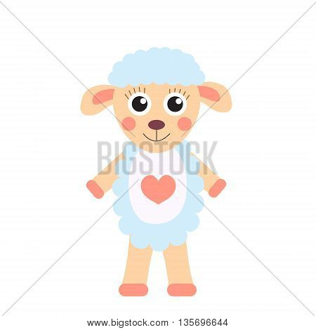 Cute cartoon character sheep. Children's toy sheep on a white background isolated. Vector illustration