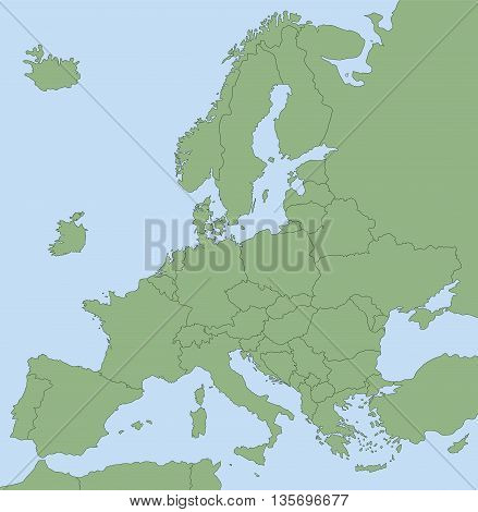 BREXIT - Map of Europe without United Kingdom.