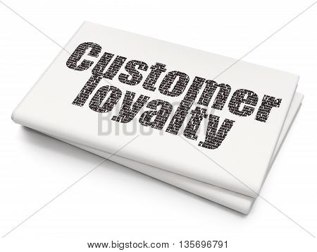 Advertising concept: Pixelated black text Customer Loyalty on Blank Newspaper background, 3D rendering