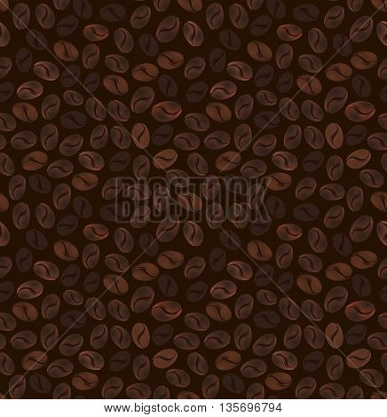 Seamless pattern of grains of coffee on a dark brown background. Vector illustration.