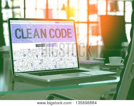 Modern Workplace with Laptop Showing Landing Page in Doodle Design Style with Text Clean Code. Toned Image with Selective Focus. 3D Render.
