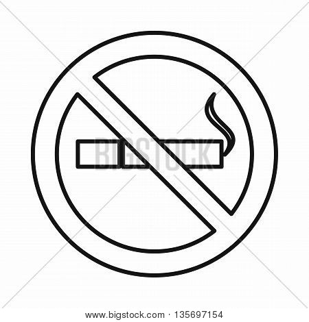No smoking sign icon in outline style isolated on white background