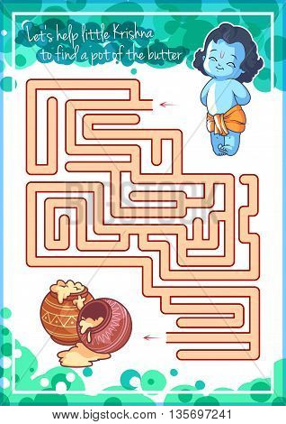 Maze game for kids with Krishna and butter. Let's help little Krishna to find a pot of the butter. Vector template activity page.