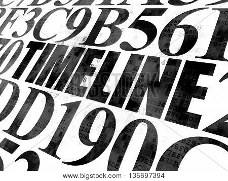 Timeline concept: Pixelated black text Timeline on Digital wall background with Hexadecimal Code