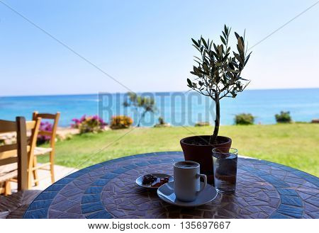 Cup of coffee on a table with olive tree with the sea view and sky in protaras cyprus island.