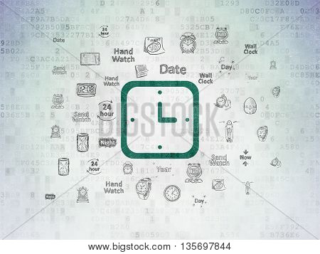 Time concept: Painted green Watch icon on Digital Data Paper background with  Hand Drawing Time Icons