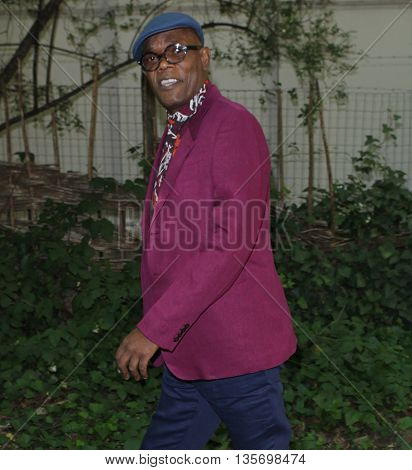 LONDON, UK, JUNE 15, 2015: Samuel L. Jackson attends the Burberry Prorsum fashion show picture taken from the street