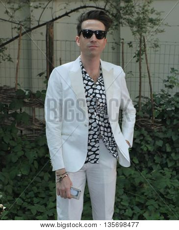 LONDON, UK, JUNE 15, 2015: Nick Grimshaw attends the Burberry Prorsum fashion show London Collections picture taken from the street