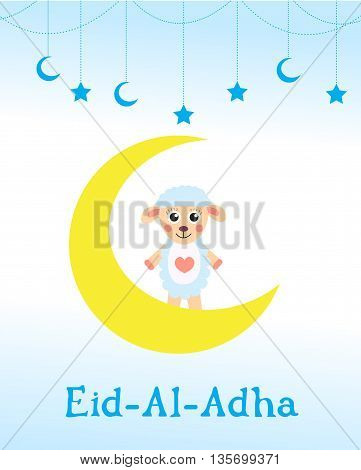 Eid al adha card children greeting. Muslim holiday. vector illustration