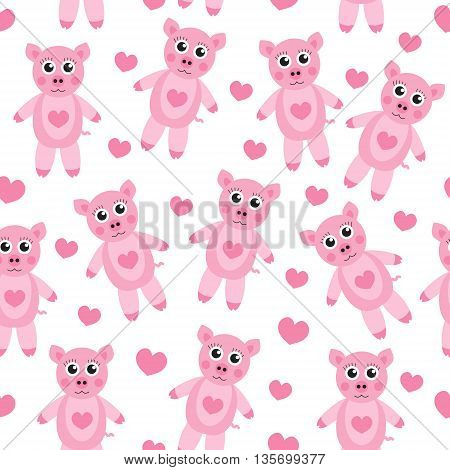 Cute cartoon pig puppy seamless texture. Children's background fabric. Vector illustration