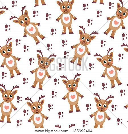 Cute cartoon reindeer seamless texture. Children's background fabric. Vector illustration