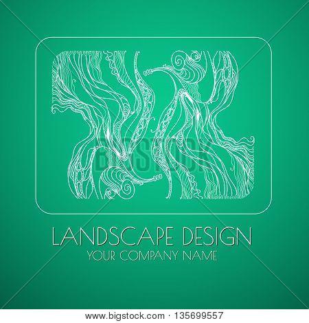Landscape design emblem vector. Stylized  branches arranged in pattern - landscape design  concept. Landscape logo for park or gardening business, organization or website.