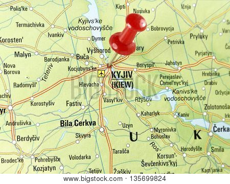 Map with pin set on Kiew, Russia.