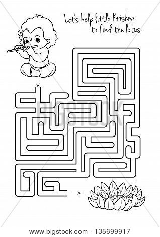 Maze game for kids with Krishna and lotus. Let's help little Krishna to find his way to the lotus. Vector template page with game in black and white style.