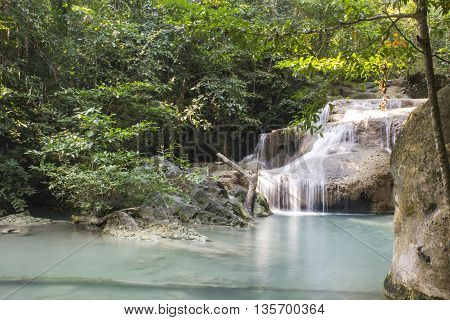 Erawan Waterfall at Erawan National Park in Thailand