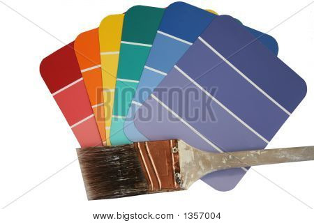 Paint Swatches With Used Paint Brush