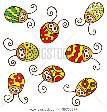 Colorful ladybirds isolated on white backround. Vector Illustration