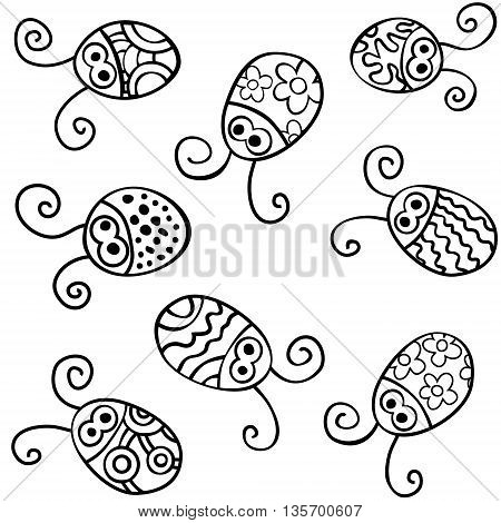 Contour ladybirds isolated on white backround. Vector Illustration