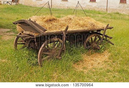 Medieval Ukrainian transport - a cart with hay (without horses)