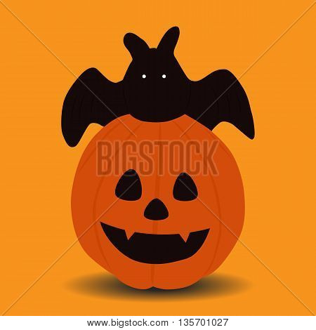 pumpkin and bat halloween icon isolated on orange background vector illustration design