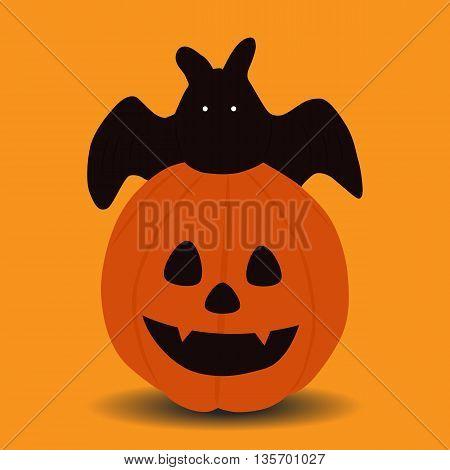 pumpkin and bat halloween icon isolated on orange background vector illustration design