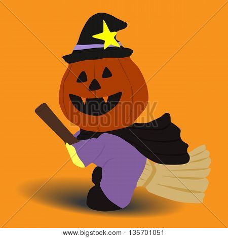 flying witch pumpkin halloween icon isolated on yellow background vector illustration design