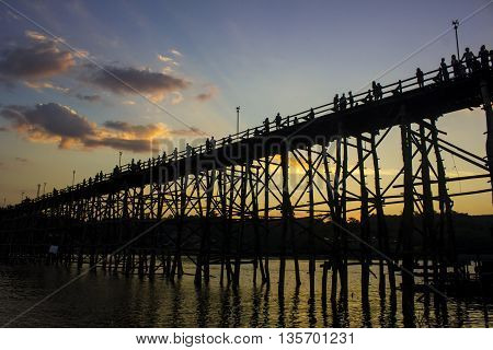 Wooden Mon Bridge the longest wooden bridge of Thailand