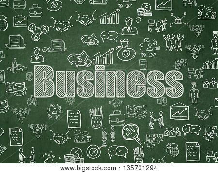 Finance concept: Chalk White text Business on School board background with  Hand Drawn Business Icons, School Board