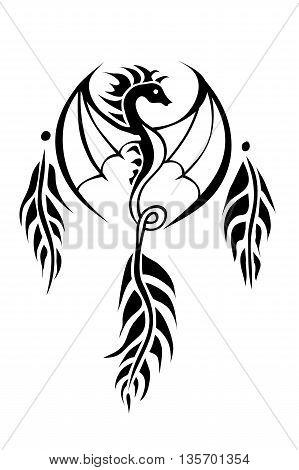 Dream catcher Dragon isolated on white backround. Vector Illustration