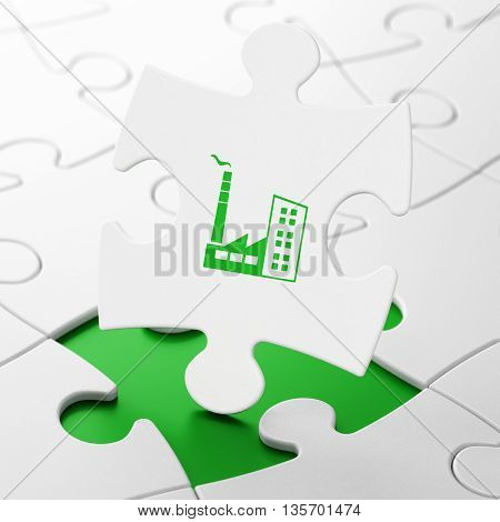 Finance concept: Industry Building on White puzzle pieces background, 3D rendering