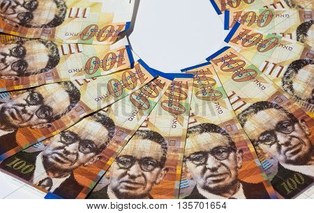 Stack Of Israeli Money Bills Of 100 Shekel - Top View