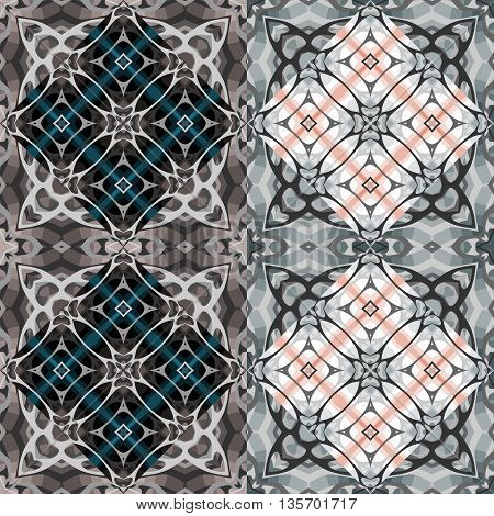 Kaleidoscope seamless pattern. Ornamental abstract vector background.